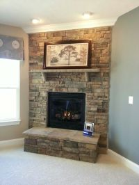 Stacked stone fireplace | home decor | Pinterest