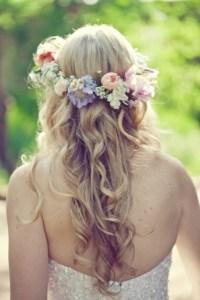 with flower wreath | Bridal Hair | Pinterest