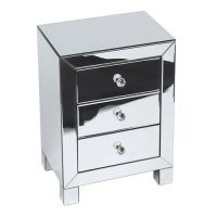 Reflections Silver Mirrored Three Drawer Accent Table ...