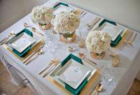 Teal White Table Setting | Wedding Ideas | Pinterest
