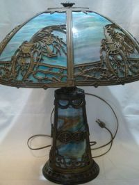 Gorgeous antique blue slag glass electric table lamp light