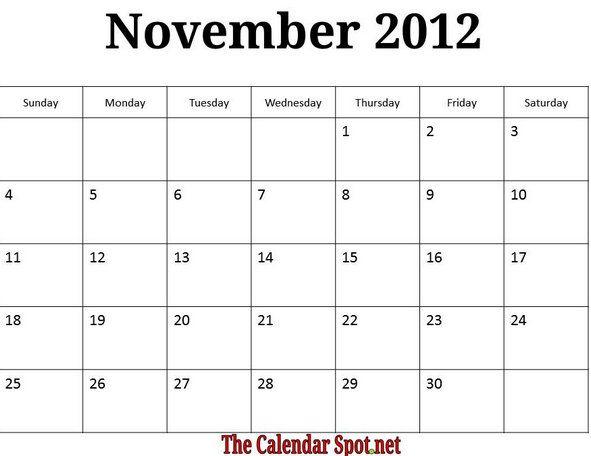 Printable 2012 Calendar November 2012 Calendar Image Printable Monthly Calendars