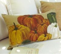 Pottery barn painted indoor / outdoor pumpkin pillow nwt ...