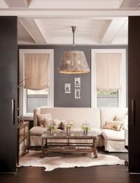 Dark gray and cream living room | For the Home | Pinterest