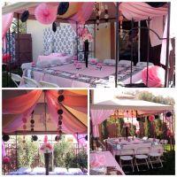 Backyard setup for damask baby shower.   Bby Mia   Pinterest