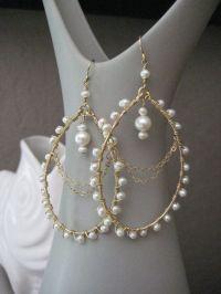 Wedding Pearl Earrings - Pearl Chandelier Earrings