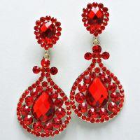 Red Crystal Chandelier Rhinestone Clip on Bridal Drag ...