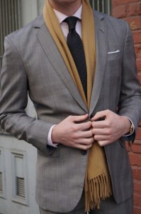 Suit and scarf layering