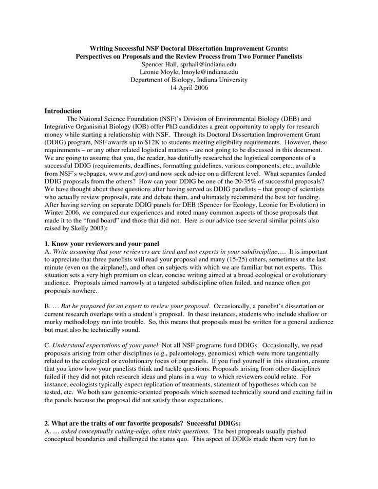 Successful phd dissertation funding proposal