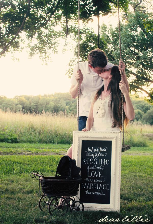 Baby Announcement | Josh and Jamie sitting in a tree, KISSING, first comes love, then comes marriage, then comes....