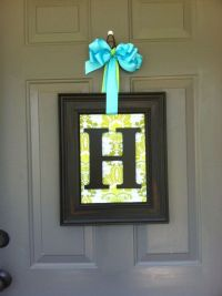 Door or Wall Art Monogram framed Initial Wreath on Etsy ...