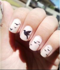 Bird design in nails | nail art | Pinterest