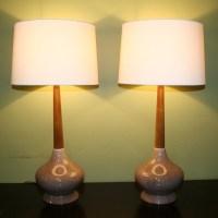 vtg mid century Table Lamp pair of 2. retro ceramic base ...