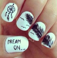 Really cute nail design | Black and white nails | Pinterest