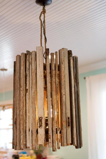 DIY wooden chandelier