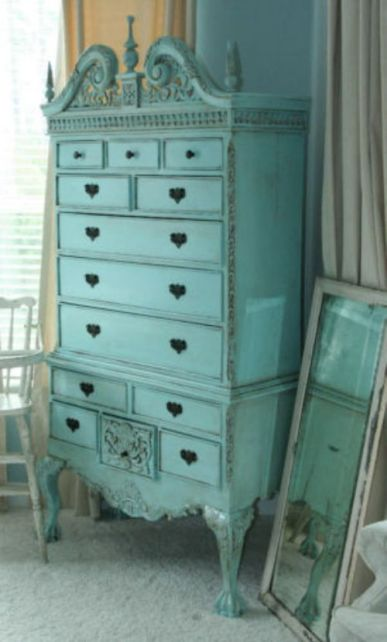 This was probably a very nice wood stain highboy. Painted turquoise, it's spectacular!  #colorsofthesea