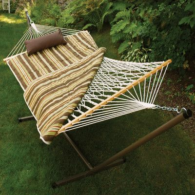 Colorcotton Rope Hammock With Stand Pad And Pillow
