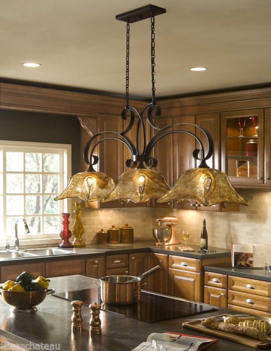 Kitchen Island Lights Fixtures Tuscan Tuscany Bronze & Amber Art Glass Kitchen Island