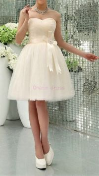 Short cream tulle bridesmaid dresses with satin sash a ...