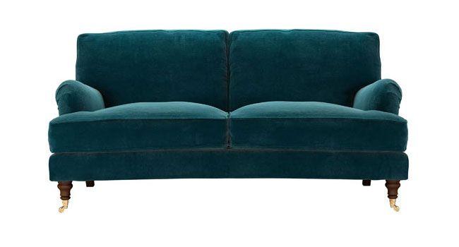 Yummy teal velvet sofa