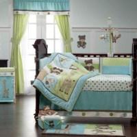 Blue & Green Teddy Bear Toys Neutral Baby Nursery 9p Crib ...
