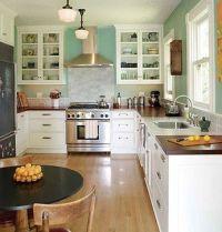 white cabinets/ butcher block countertop | Kitchen | Pinterest