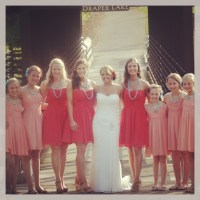 Persimmon bridesmaid dresses with jr bridesmaids in coral ...