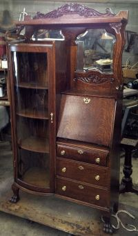 Oak Secretary Desk and Bookcase, Side by Side