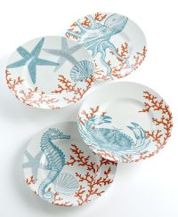 222 Fifth Set of 4 Coastal Life Assorted Dessert Plates
