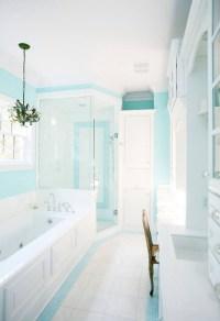 Turquoise bathroom.