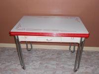 Vintage White w/ Red Trim Enamel Porcelain Leaf Kitchen ...