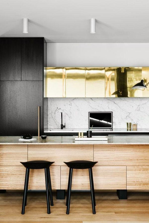 kitchen stools, kitchen island, gold cabinets