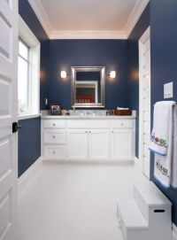 Navy blue and white bathroom   For the Home   Pinterest