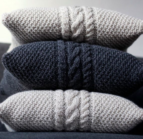 Knitted gray pillow cover