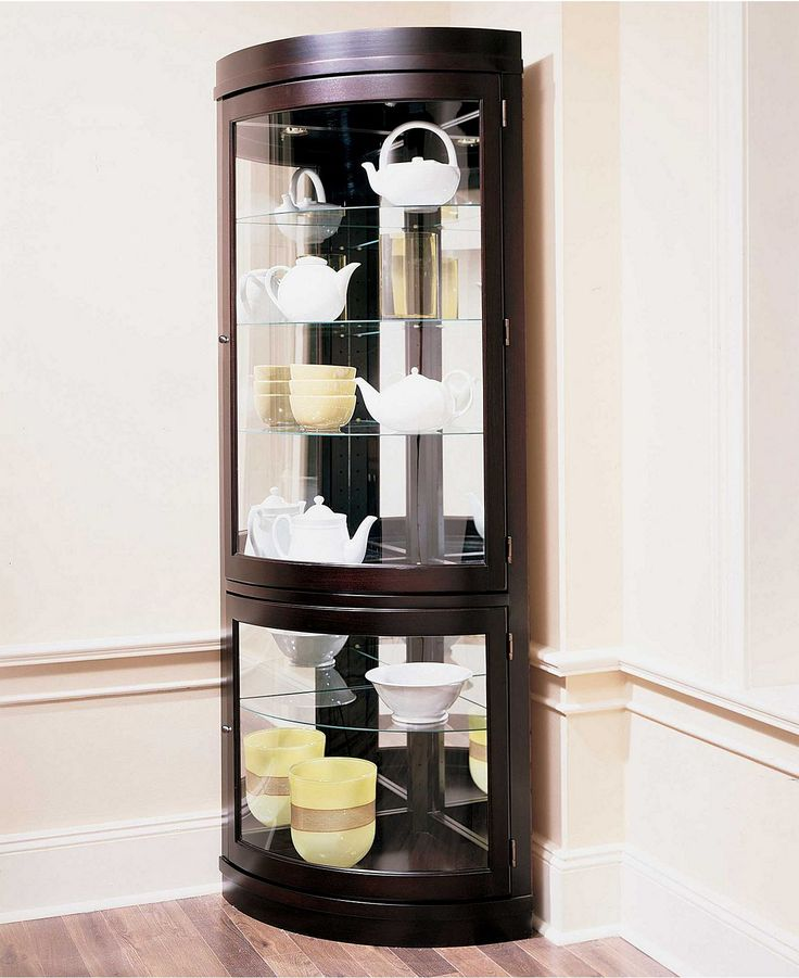 Contemporary Curio Cabinets Contemporary Curved Corner Curio Cabinet