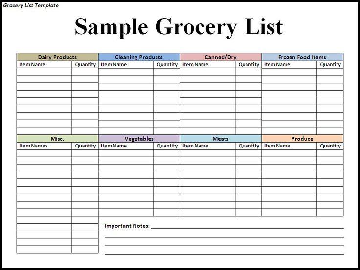Calendar Template 2014 Printable – Free Printable Grocery List Template