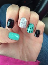 Cross nails turquoise and black *SR* | Beauty | Pinterest