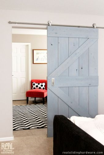 sliding barn door, silver hardware
