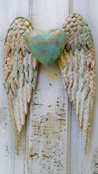 Angel wings wall decor with heart white and gold shabby ...