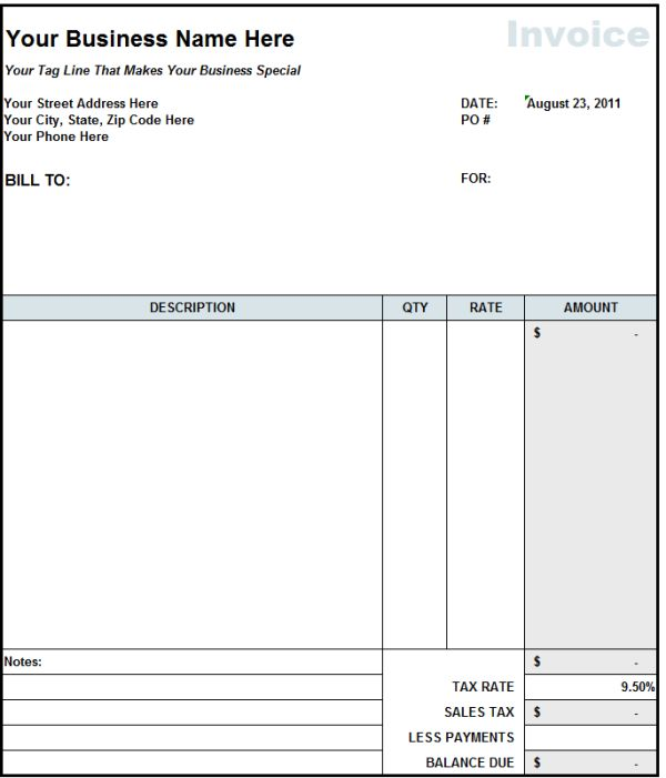 Blank Copy Of An Invoice – Copy of a Blank Invoice