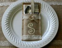 burlap silverware holders, 6 for 30, monogramed silverware ...