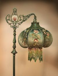 Victorian lamp with beaded fringe lamp shade