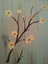 Dogwood flowers painted on wood   Art   Pinterest