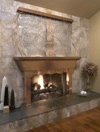 Waterfall with fireplace | Living Room Remodel | Pinterest