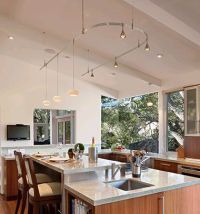 Monorail in vaulted ceiling kitchen | Lighting | Pinterest