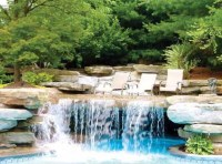 Backyard pool with waterfall and grotto. | Outdoors ...