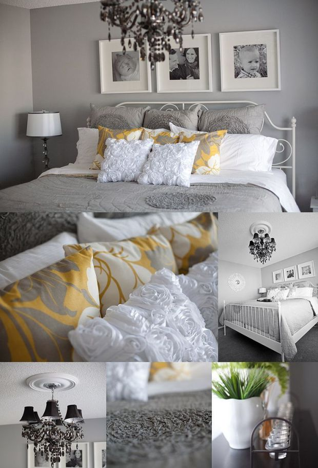 grey white and yellow master gray bedroom
