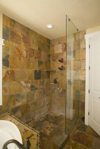 slate tile bathroom | Bathroom Ideas | Pinterest