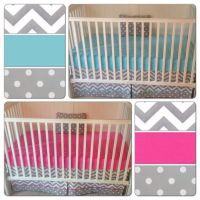 Bumperless Crib Bedding Set Girl Boy Twins Fuchsia Aqua Gray