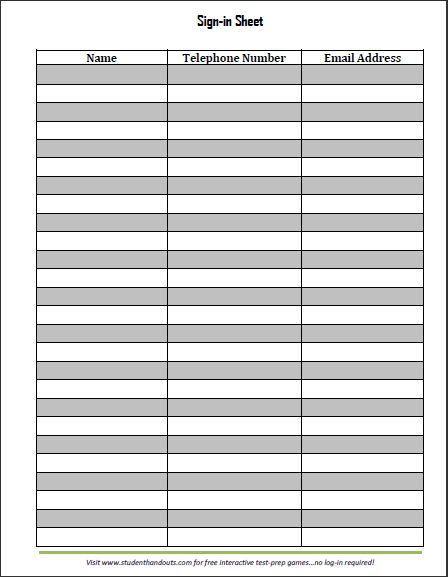 boy scout attendance sheet template - meeting sign in sheet templates